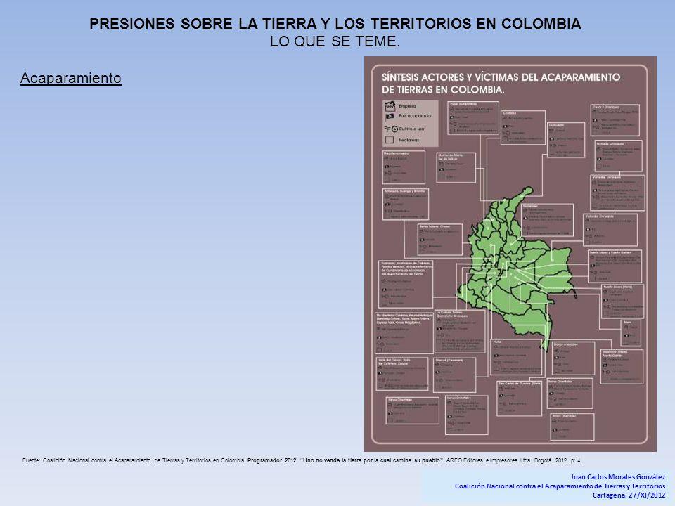 PRESIONES SOBRE LA TIERRA Y LOS TERRITORIOS EN COLOMBIA LO QUE SE TEME. Acaparamiento Fuente: Coalición Nacional contra el Acaparamiento de Tierras y