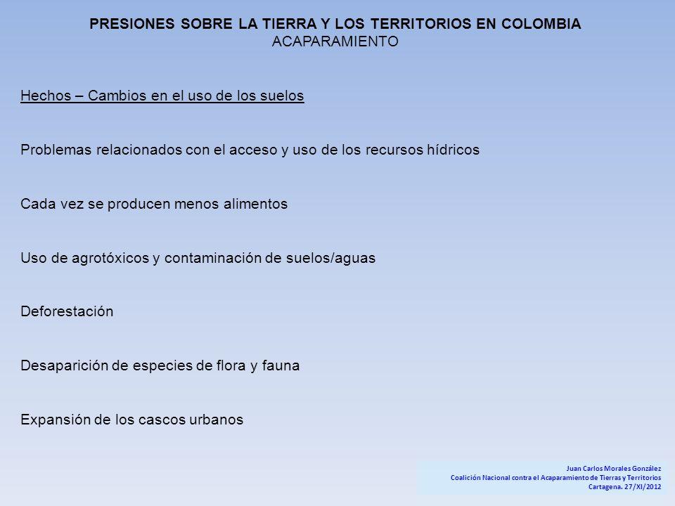 PRESIONES SOBRE LA TIERRA Y LOS TERRITORIOS EN COLOMBIA ACAPARAMIENTO Hechos – Cambios en el uso de los suelos Problemas relacionados con el acceso y