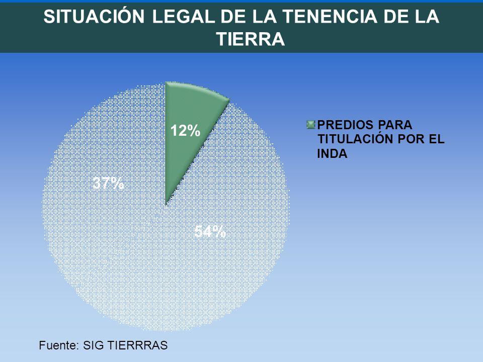 SITUACIÓN LEGAL DE LA TENENCIA DE LA TIERRA 12% 54% 37% PREDIOS PARA TITULACIÓN POR EL INDA Fuente: SIG TIERRRAS