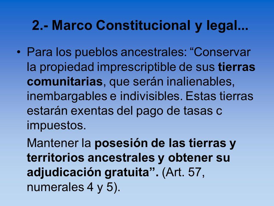 Para los pueblos ancestrales: Conservar la propiedad imprescriptible de sus tierras comunitarias, que serán inalienables, inembargables e indivisibles