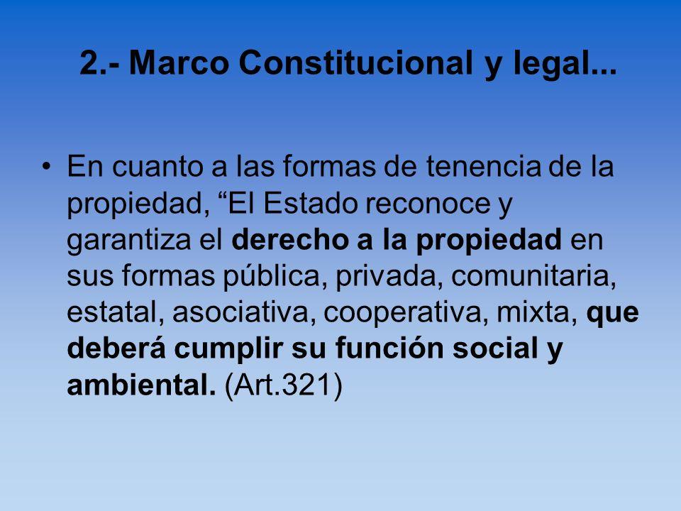 En cuanto a las formas de tenencia de la propiedad, El Estado reconoce y garantiza el derecho a la propiedad en sus formas pública, privada, comunitar
