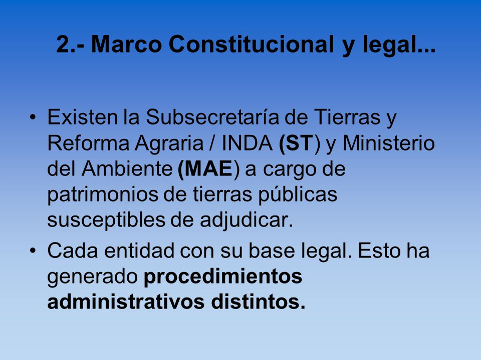 Existen la Subsecretaría de Tierras y Reforma Agraria / INDA (ST) y Ministerio del Ambiente (MAE) a cargo de patrimonios de tierras públicas susceptib
