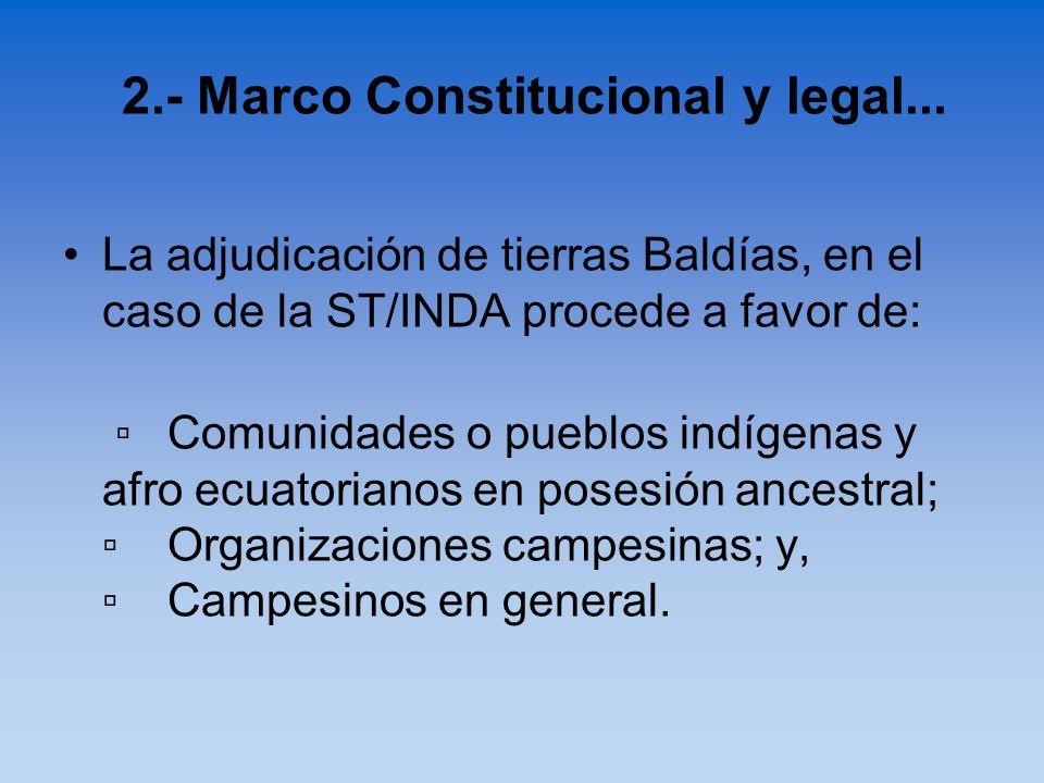La adjudicación de tierras Baldías, en el caso de la ST/INDA procede a favor de: Comunidades o pueblos indígenas y afro ecuatorianos en posesión ances