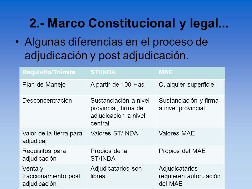 Algunas diferencias en el proceso de adjudicación y post adjudicación. 2.- Marco Constitucional y legal... Requisito/TrámiteST/INDAMAE Plan de ManejoA
