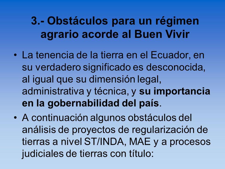 La tenencia de la tierra en el Ecuador, en su verdadero significado es desconocida, al igual que su dimensión legal, administrativa y técnica, y su im
