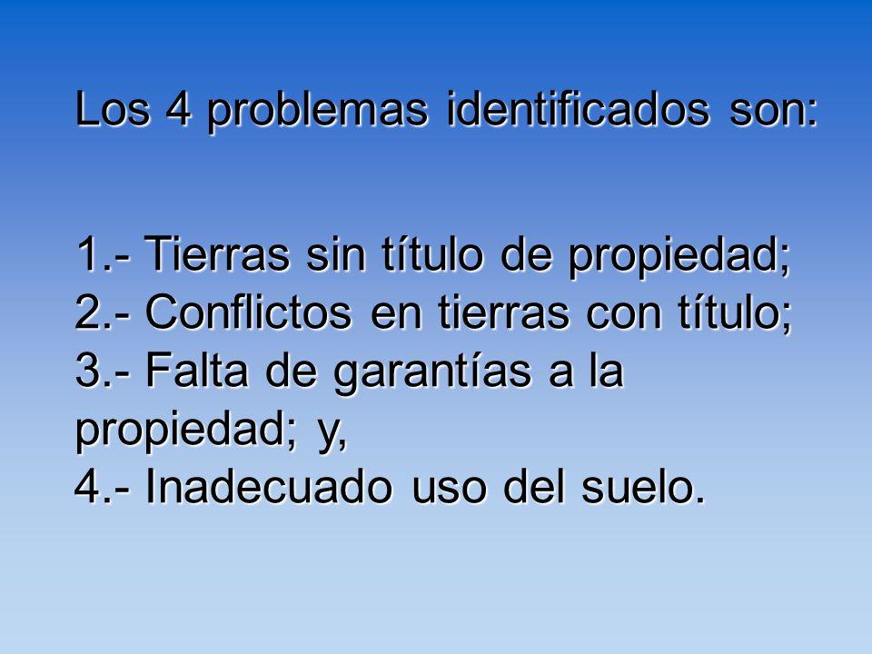 Los 4 problemas identificados son: 1.- Tierras sin título de propiedad; 2.- Conflictos en tierras con título; 3.- Falta de garantías a la propiedad; y
