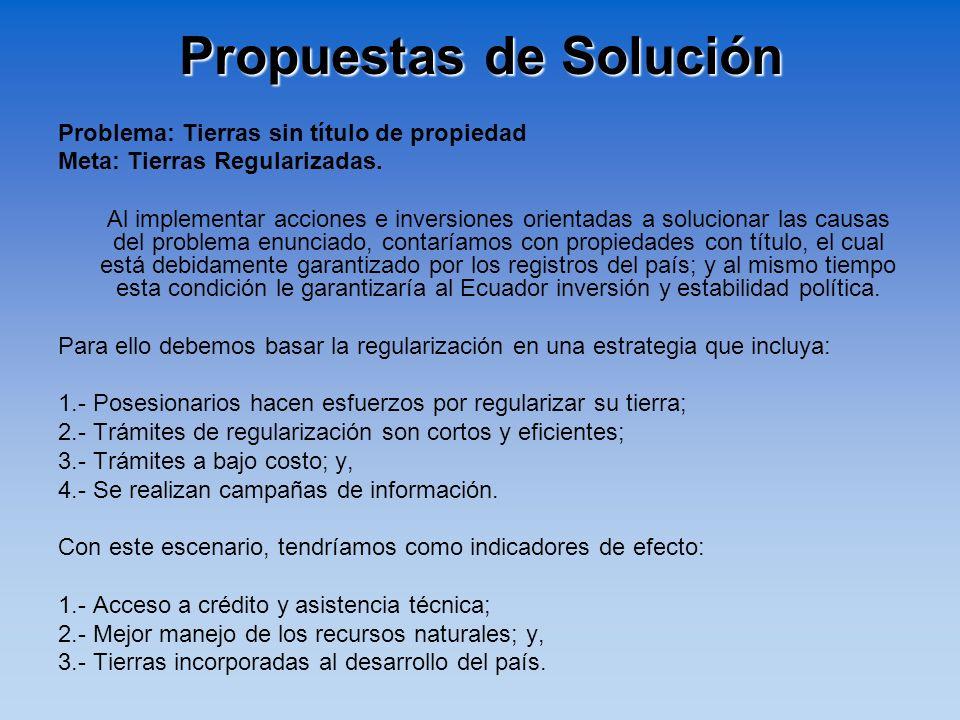 Propuestas de Solución Problema: Tierras sin título de propiedad Meta: Tierras Regularizadas. Al implementar acciones e inversiones orientadas a soluc