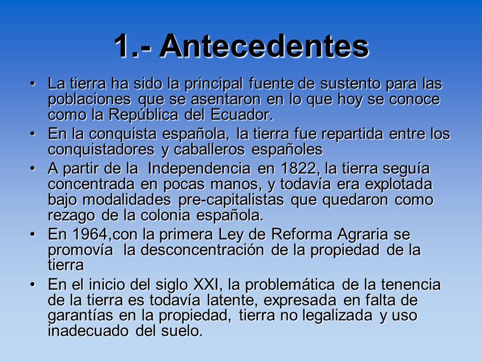 1.- Antecedentes La tierra ha sido la principal fuente de sustento para las poblaciones que se asentaron en lo que hoy se conoce como la República del
