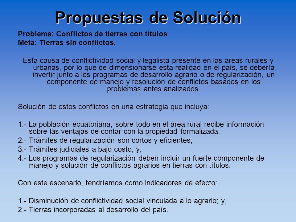 Propuestas de Solución Problema: Conflictos de tierras con títulos Meta: Tierras sin conflictos. Esta causa de conflictividad social y legalista prese