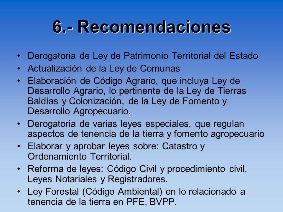 6.- Recomendaciones Derogatoria de Ley de Patrimonio Territorial del Estado Actualización de la Ley de Comunas Elaboración de Código Agrario, que incl