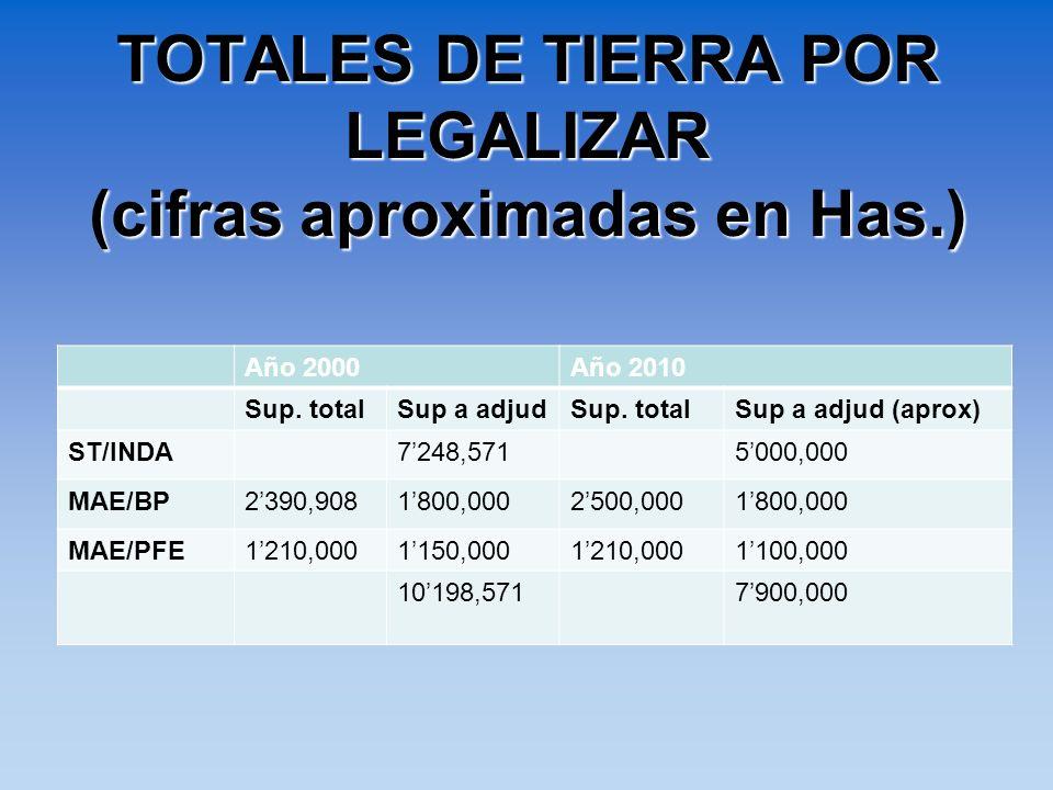 TOTALES DE TIERRA POR LEGALIZAR (cifras aproximadas en Has.) Año 2000Año 2010 Sup. totalSup a adjudSup. totalSup a adjud (aprox) ST/INDA 7248,571 5000