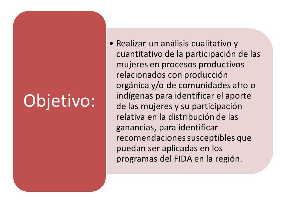 Realizar un análisis cualitativo y cuantitativo de la participación de las mujeres en procesos productivos relacionados con producción orgánica y/o de