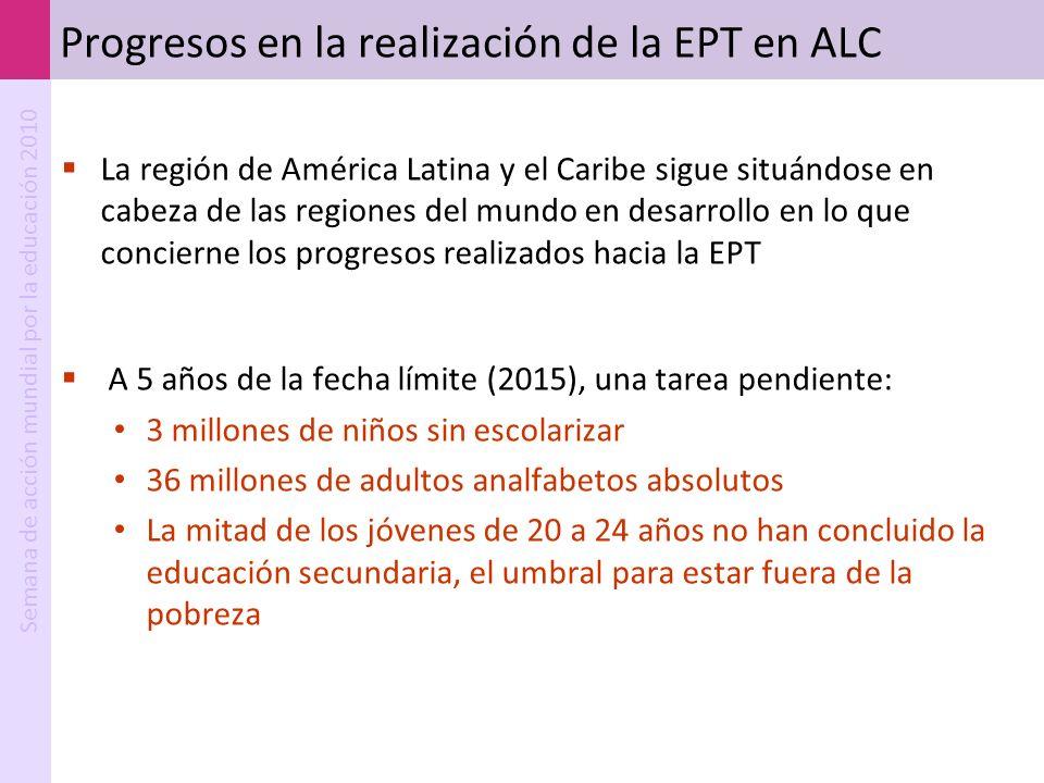 Semana de acción mundial por la educación 2010 Progresos en la realización de la EPT en ALC La región de América Latina y el Caribe sigue situándose e
