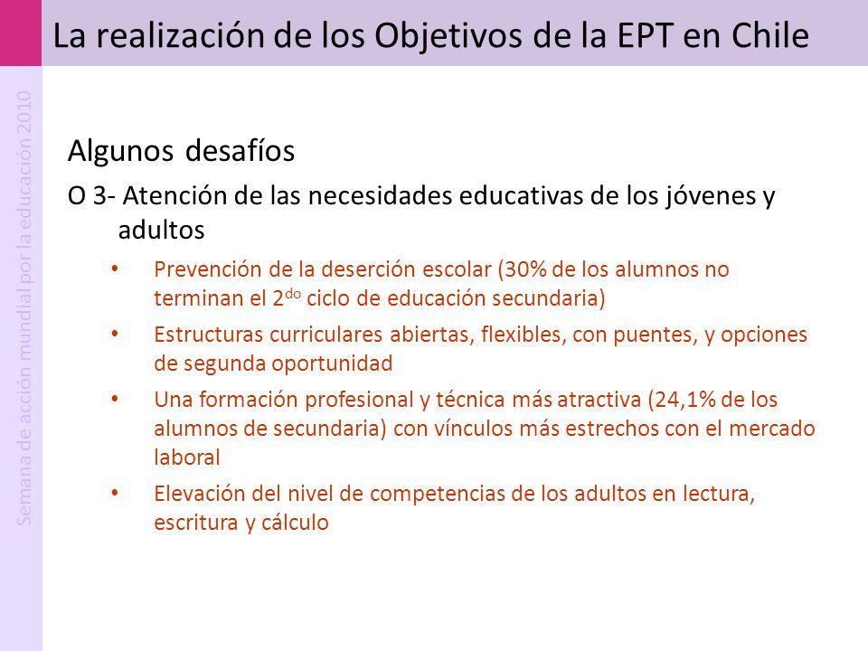 Semana de acción mundial por la educación 2010 La realización de los Objetivos de la EPT en Chile Algunos desafíos O 3- Atención de las necesidades ed