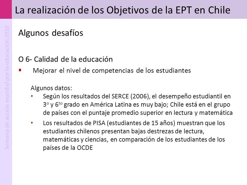 Semana de acción mundial por la educación 2010 La realización de los Objetivos de la EPT en Chile Algunos desafíos O 6- Calidad de la educación Mejora