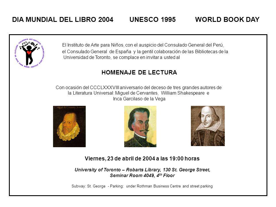 El Instituto de Arte para Niños, con el auspicio del Consulado General del Perú, el Consulado General de España y la gentil colaboración de las Biblio