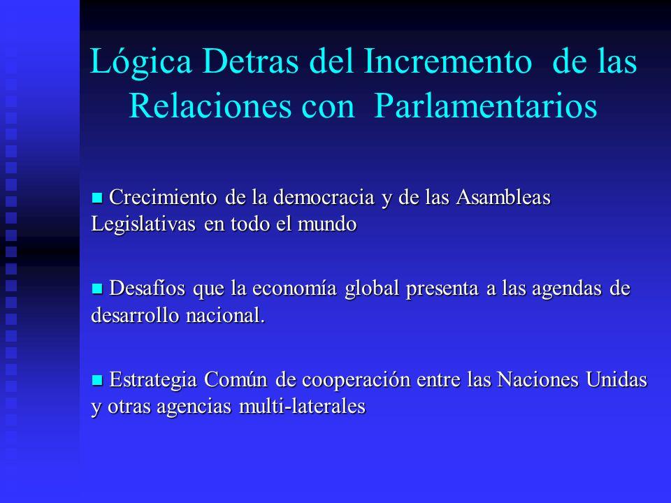 Lógica Detras del Incremento de las Relaciones con Parlamentarios Crecimiento de la democracia y de las Asambleas Legislativas en todo el mundo Crecimiento de la democracia y de las Asambleas Legislativas en todo el mundo Desafíos que la economía global presenta a las agendas de desarrollo nacional.
