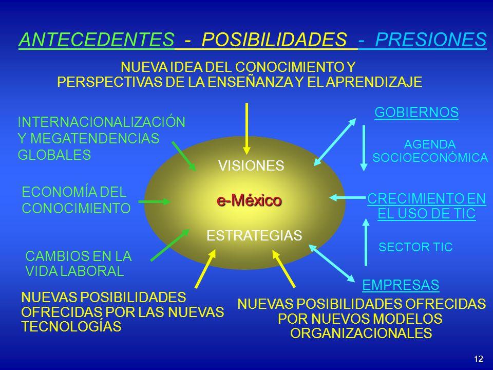 12 e-México NUEVA IDEA DEL CONOCIMIENTO Y PERSPECTIVAS DE LA ENSEÑANZA Y EL APRENDIZAJE CAMBIOS EN LA VIDA LABORAL NUEVAS POSIBILIDADES OFRECIDAS POR