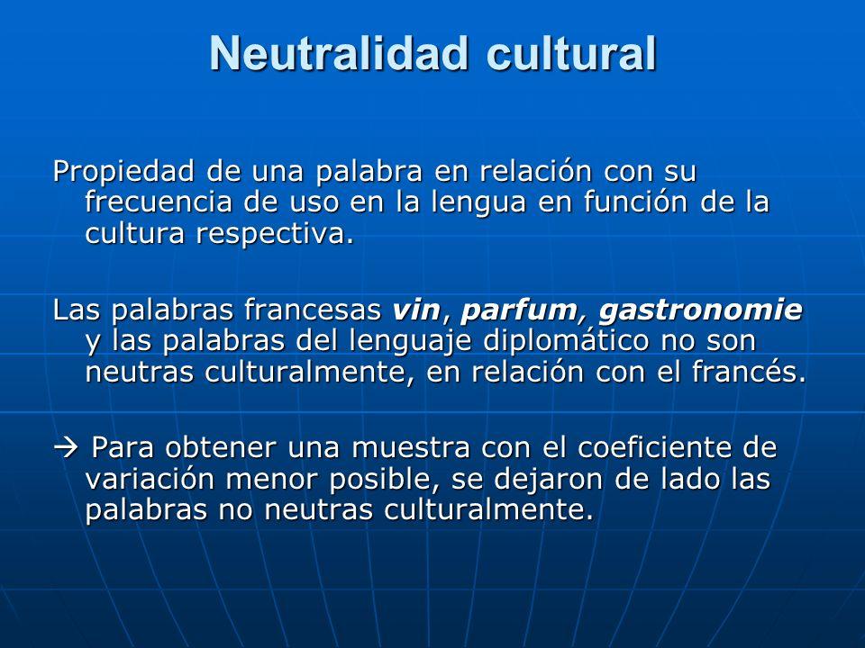 Neutralidad cultural Propiedad de una palabra en relación con su frecuencia de uso en la lengua en función de la cultura respectiva.