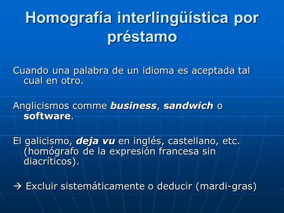 Homografía interlingüística por préstamo Cuando una palabra de un idioma es aceptada tal cual en otro.