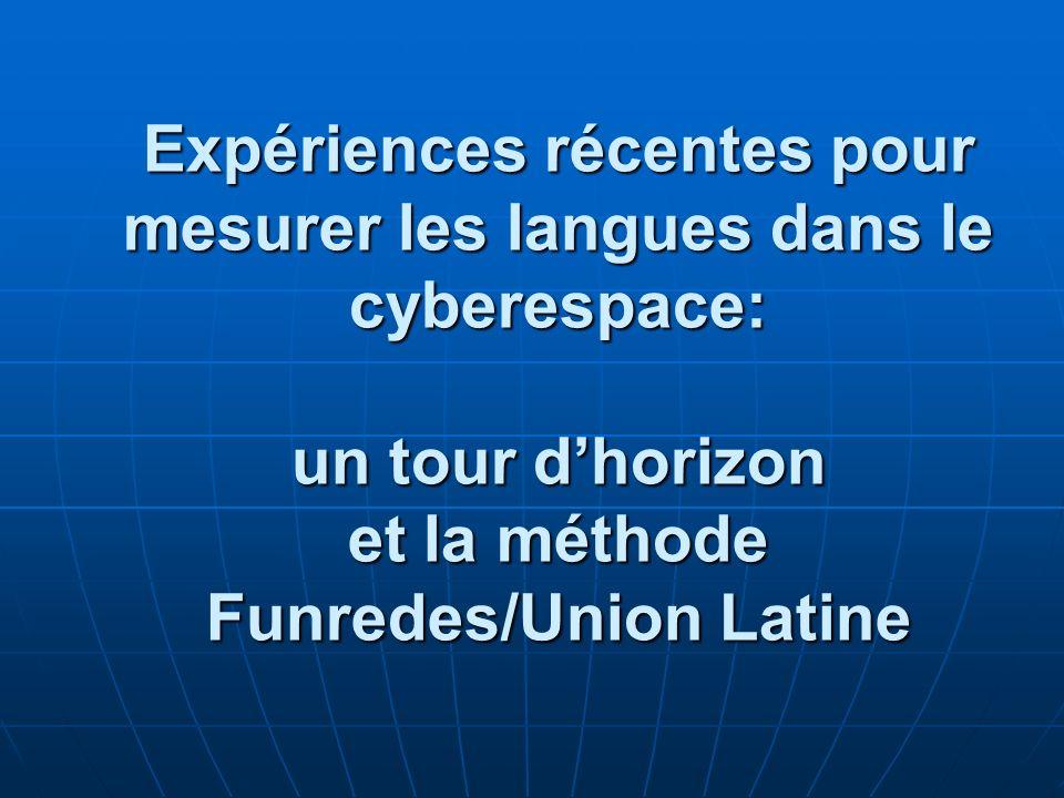 ATELIER Expériences récentes pour mesurer les langues dans le cyberespace: un tour dhorizon et la méthode Funredes/Union Latine