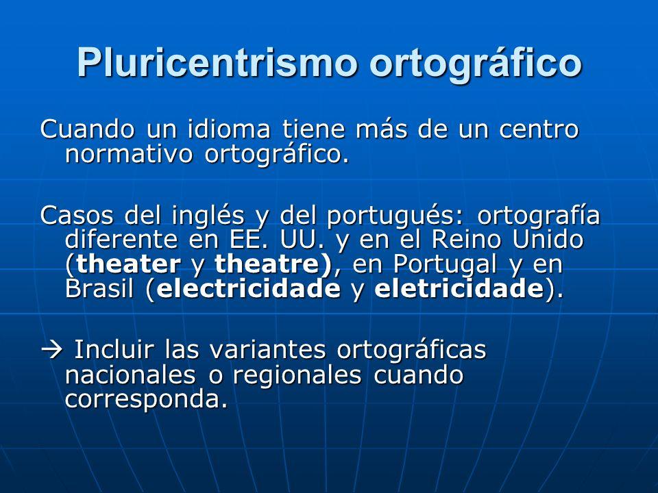 Pluricentrismo ortográfico Cuando un idioma tiene más de un centro normativo ortográfico.