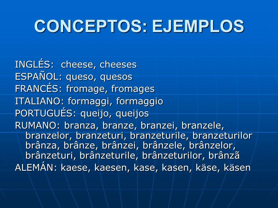 CONCEPTOS: EJEMPLOS INGLÉS: cheese, cheeses ESPAÑOL: queso, quesos FRANCÉS: fromage, fromages ITALIANO: formaggi, formaggio PORTUGUÉS: queijo, queijos RUMANO: branza, branze, branzei, branzele, branzelor, branzeturi, branzeturile, branzeturilor brânza, brânze, brânzei, brânzele, brânzelor, brânzeturi, brânzeturile, brânzeturilor, brânzã ALEMÁN: kaese, kaesen, kase, kasen, käse, käsen