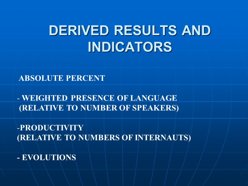 DERIVED RESULTS AND INDICATORS ABSOLUTE PERCENT - WEIGHTED PRESENCE OF LANGUAGE (RELATIVE TO NUMBER OF SPEAKERS) -PRODUCTIVITY (RELATIVE TO NUMBERS OF INTERNAUTS) - EVOLUTIONS