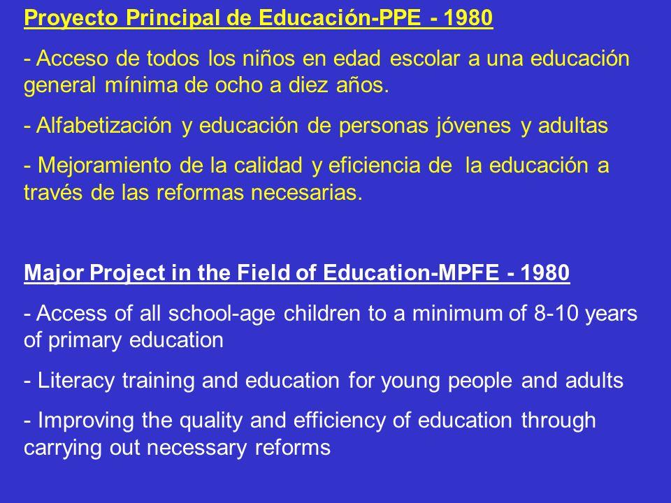 Proyecto Principal de Educación-PPE - 1980 - Acceso de todos los niños en edad escolar a una educación general mínima de ocho a diez años. - Alfabetiz