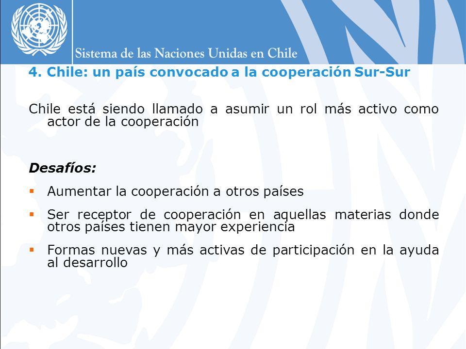 4. Chile: un país convocado a la cooperación Sur-Sur Chile está siendo llamado a asumir un rol más activo como actor de la cooperación Desafíos: Aumen