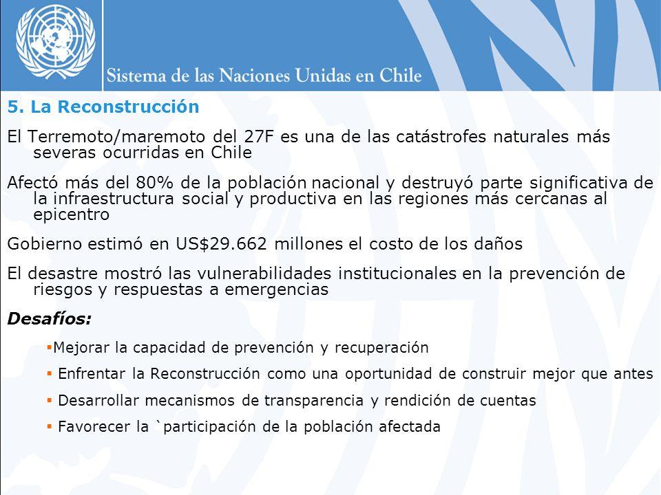 5. La Reconstrucción El Terremoto/maremoto del 27F es una de las catástrofes naturales más severas ocurridas en Chile Afectó más del 80% de la poblaci
