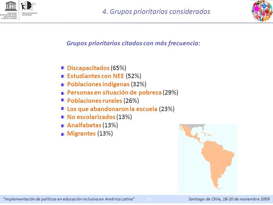 Implementación de políticas en educación inclusiva en América Latina Santiago de Chile, 18-20 de noviembre 200911 Grupos prioritarios citados con más