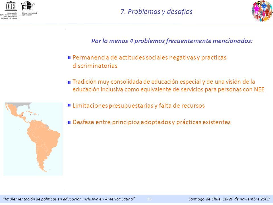Implementación de políticas en educación inclusiva en América Latina Santiago de Chile, 18-20 de noviembre 200915 Por lo menos 4 problemas frecuenteme