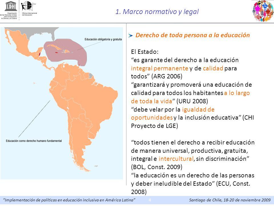 Implementación de políticas en educación inclusiva en América Latina Santiago de Chile, 18-20 de noviembre 20094 Derecho de toda persona a la educació