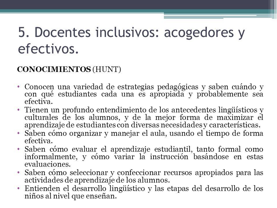 5. Docentes inclusivos: acogedores y efectivos. CONOCIMIENTOS (HUNT) Conocen una variedad de estrategias pedagógicas y saben cuándo y con qué estudian