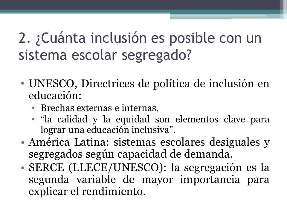 2. ¿Cuánta inclusión es posible con un sistema escolar segregado? UNESCO, Directrices de política de inclusión en educación: Brechas externas e intern
