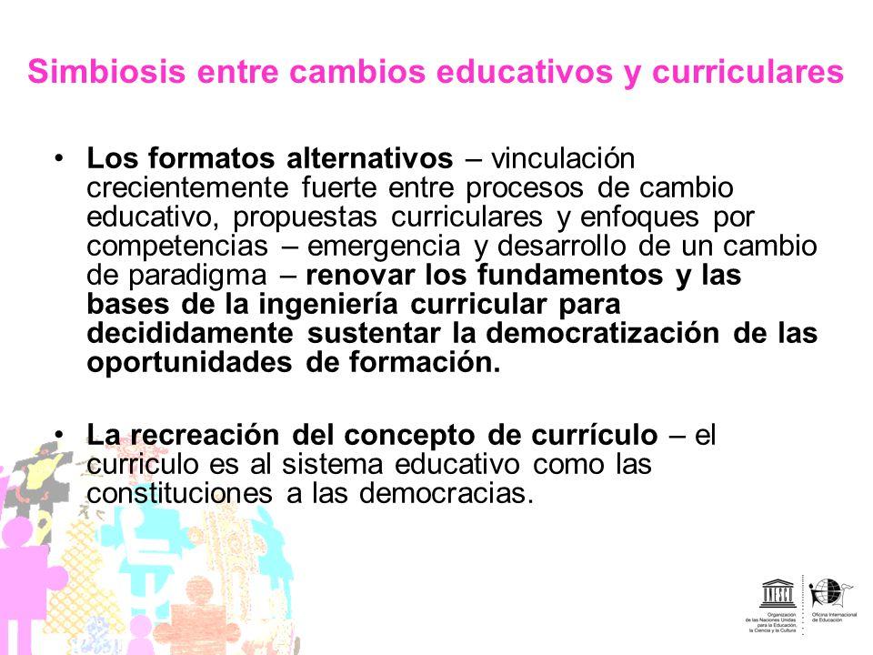 Simbiosis entre cambios educativos y curriculares Los formatos alternativos – vinculación crecientemente fuerte entre procesos de cambio educativo, pr