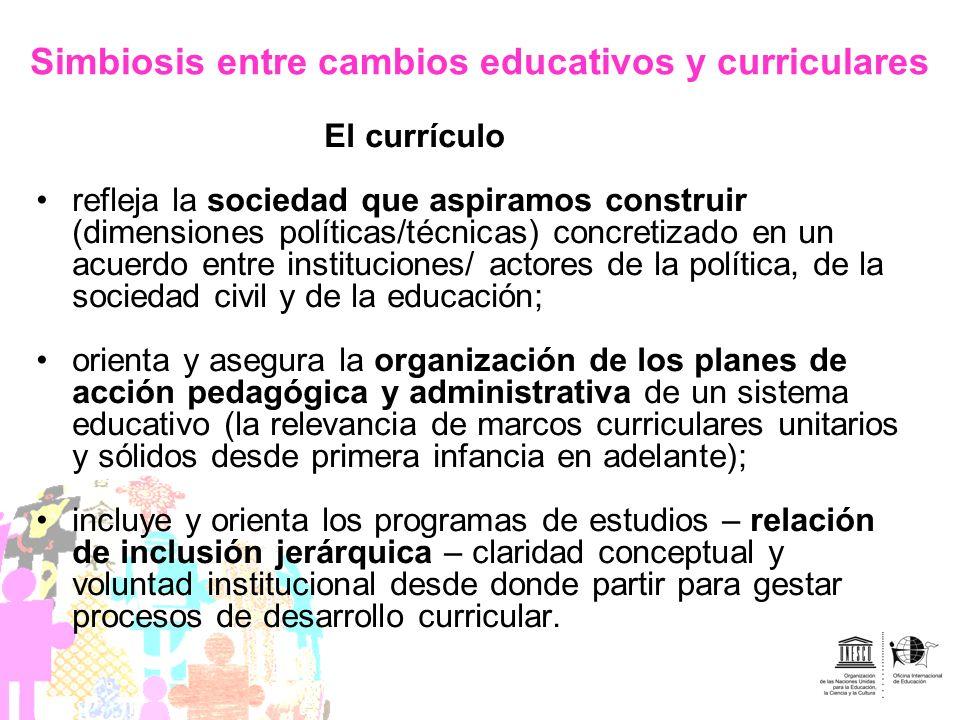 Simbiosis entre cambios educativos y curriculares El currículo refleja la sociedad que aspiramos construir (dimensiones políticas/técnicas) concretiza