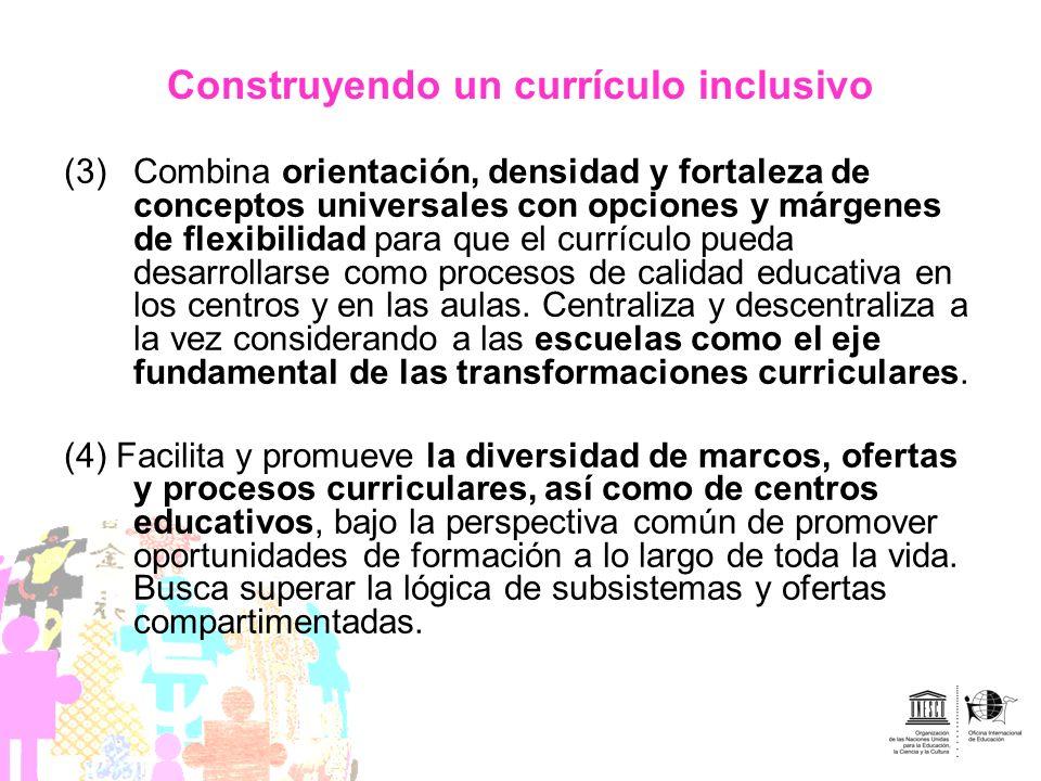 Construyendo un currículo inclusivo (3)Combina orientación, densidad y fortaleza de conceptos universales con opciones y márgenes de flexibilidad para