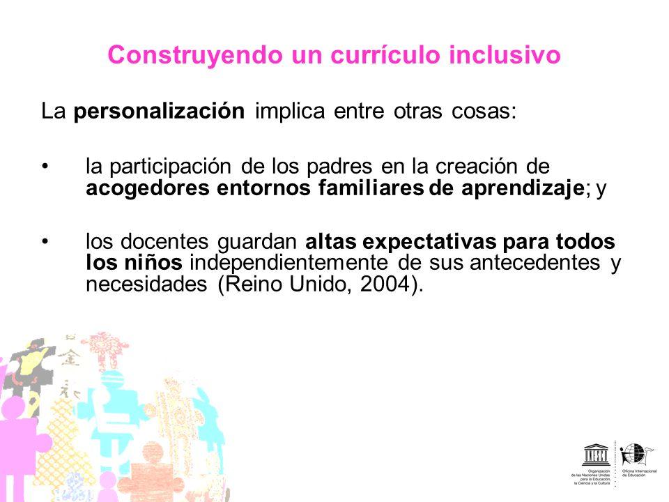 Construyendo un currículo inclusivo La personalización implica entre otras cosas: la participación de los padres en la creación de acogedores entornos