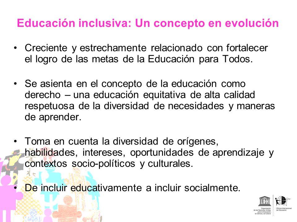 Educación inclusiva: Un concepto en evolución Creciente y estrechamente relacionado con fortalecer el logro de las metas de la Educación para Todos. S