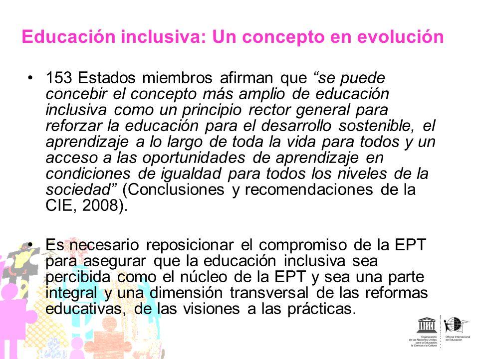 153 Estados miembros afirman que se puede concebir el concepto más amplio de educación inclusiva como un principio rector general para reforzar la edu