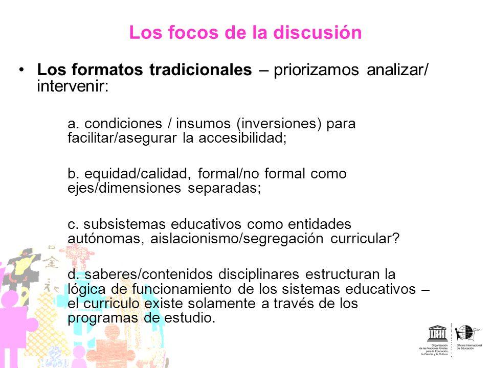Los focos de la discusión Los formatos tradicionales – priorizamos analizar/ intervenir: a. condiciones / insumos (inversiones) para facilitar/asegura