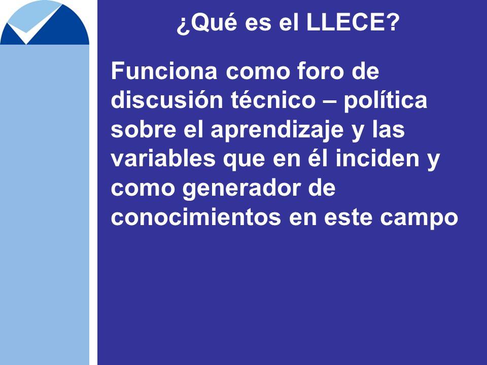 ¿Qué es el LLECE? Funciona como foro de discusión técnico – política sobre el aprendizaje y las variables que en él inciden y como generador de conoci