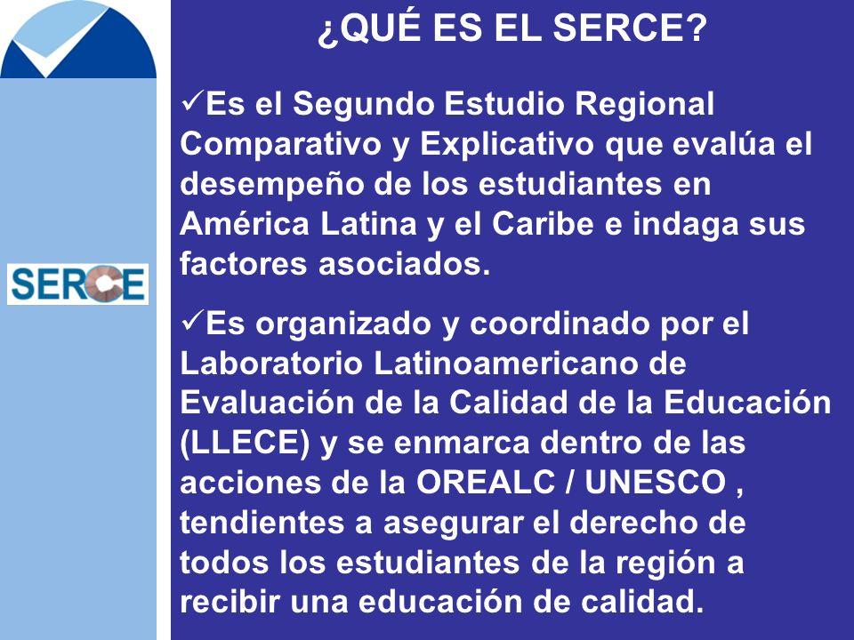 ¿QUÉ ES EL SERCE? Es el Segundo Estudio Regional Comparativo y Explicativo que evalúa el desempeño de los estudiantes en América Latina y el Caribe e