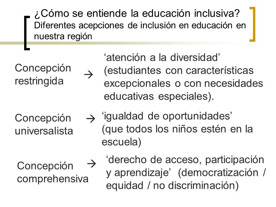 ¿Cómo se entiende la educación inclusiva? Diferentes acepciones de inclusión en educación en nuestra región Concepción restringida atención a la diver