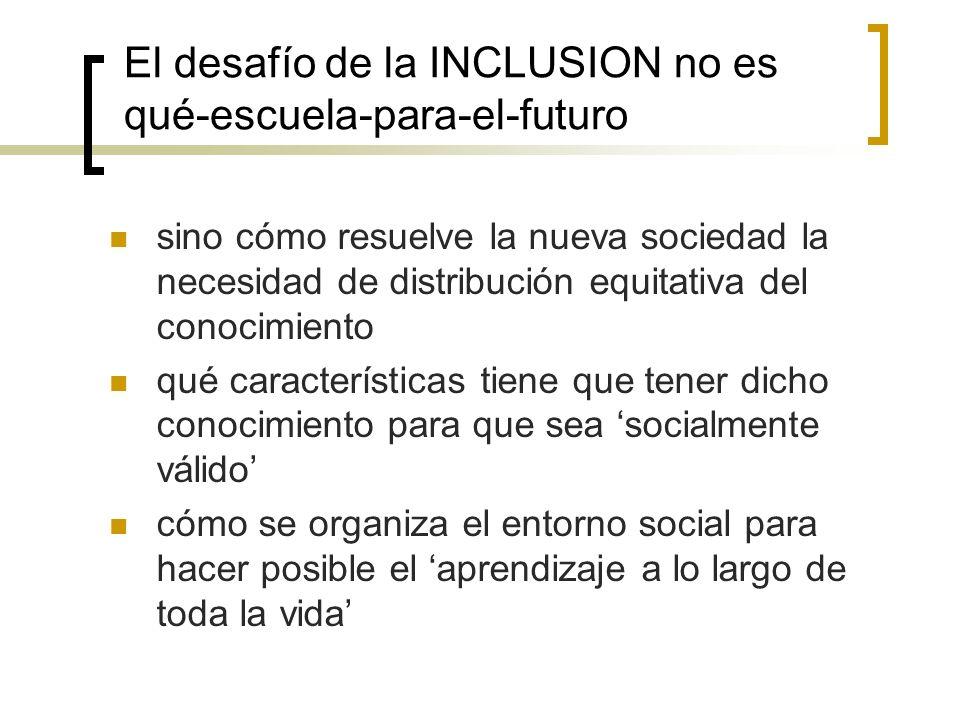 El desafío de la INCLUSION no es qué-escuela-para-el-futuro sino cómo resuelve la nueva sociedad la necesidad de distribución equitativa del conocimie