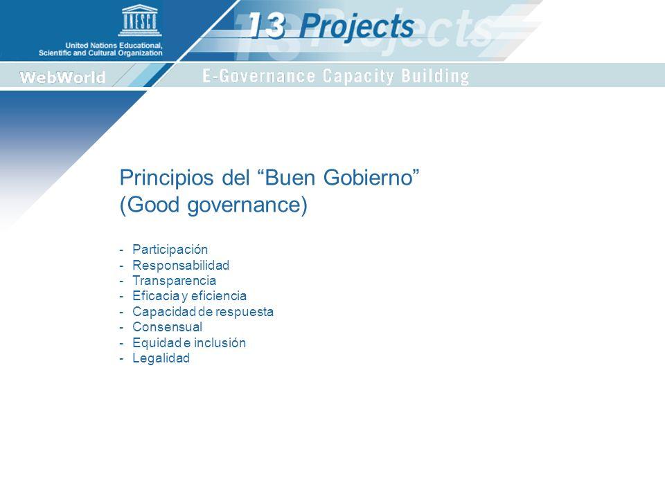 Principios del Buen Gobierno (Good governance) -Participación -Responsabilidad -Transparencia -Eficacia y eficiencia -Capacidad de respuesta -Consensual -Equidad e inclusión -Legalidad