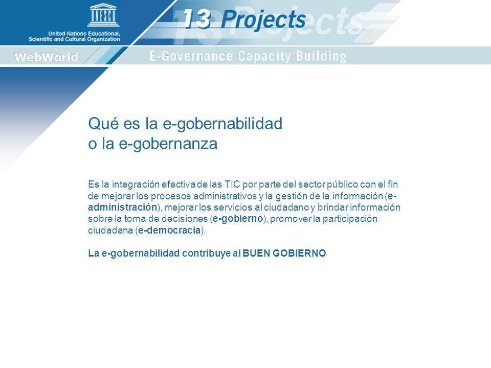 1.Estudio sobre el vinculo entre la utilización de las TIC y la gobernabilidad en municipalidades de 5 países: Brasil, Uruguay, Perú, Ecuador y México.