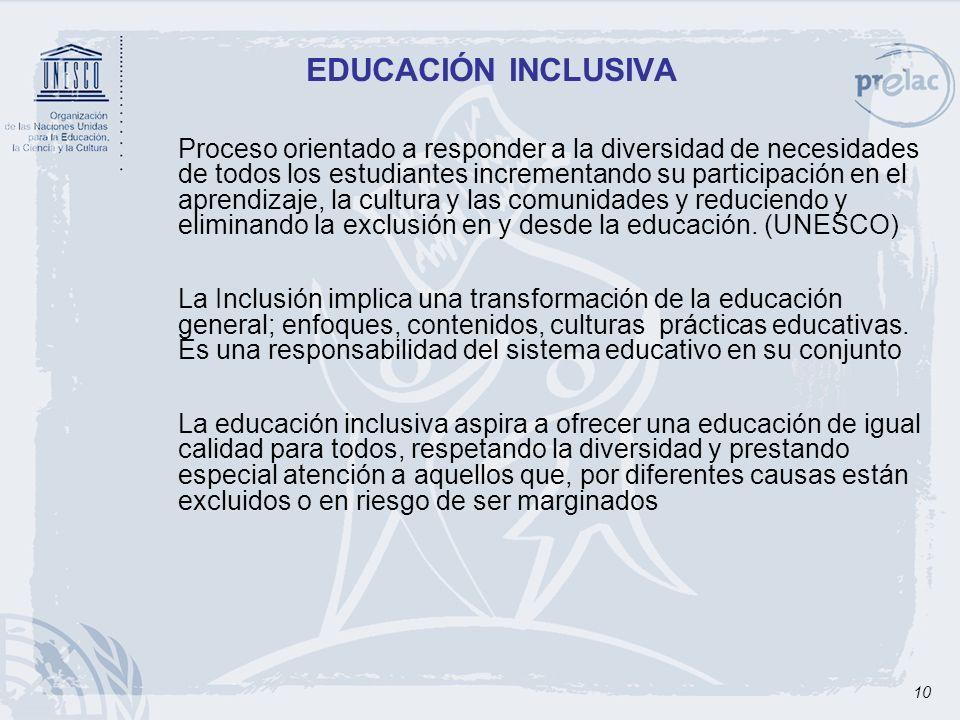 10 EDUCACIÓN INCLUSIVA Proceso orientado a responder a la diversidad de necesidades de todos los estudiantes incrementando su participación en el apre
